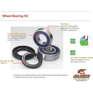 Rear Wheel Bearing Kit Can-Am DS 250 06-12, Eton VXL250 0, Yamaha YFM300 Grizzly 12